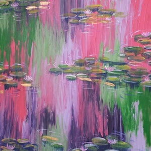 (CreativeWork) Water Lillies by Jodie Herden. arcylic-painting. Shop online at Bluethumb.