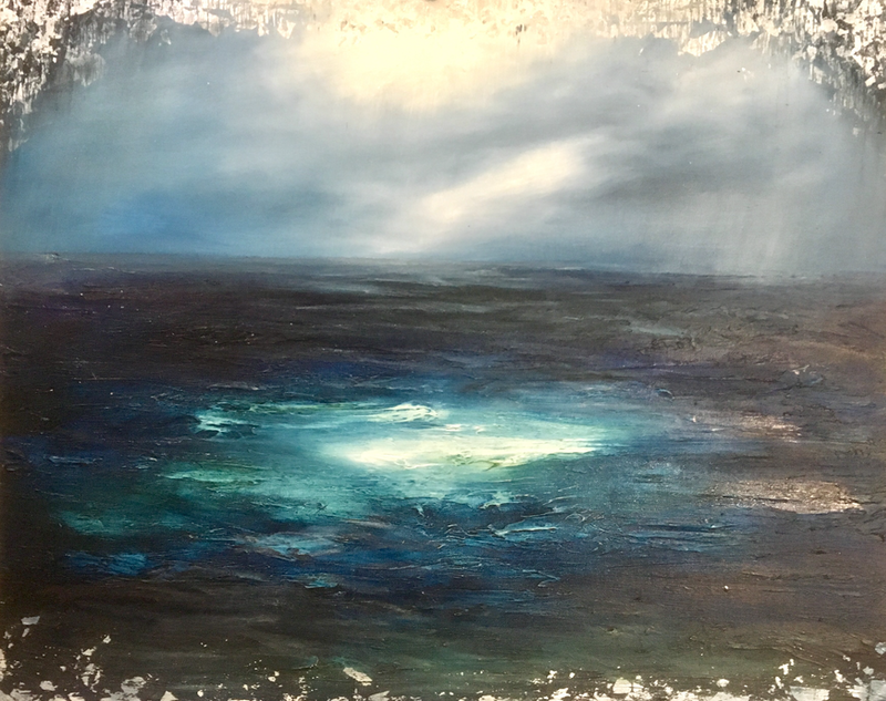 (CreativeWork) Once Upon a Stormy Sea by Janet Claydon. mixed-media. Shop online at Bluethumb.