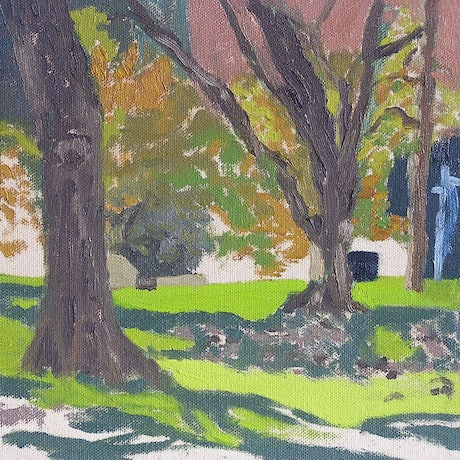 (CreativeWork) Hyde Park - & Yellow by Ishbel Morag Miller. Oil Paint. Shop online at Bluethumb.