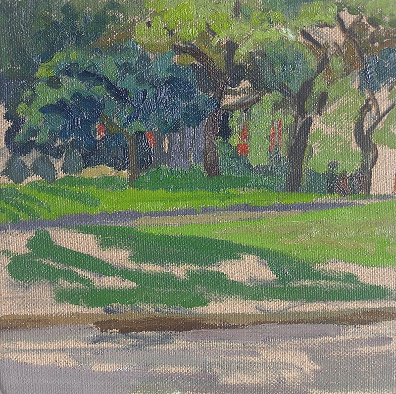 (CreativeWork) Hyde Park - & 4 Trees by Ishbel Morag Miller. oil-painting. Shop online at Bluethumb.