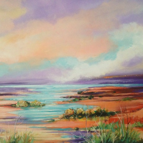 (CreativeWork) The Inlet by Leanne Manns. Acrylic Paint. Shop online at Bluethumb.