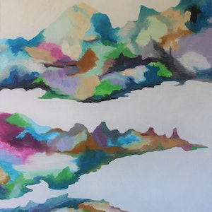 (CreativeWork) Balanced land by Googie Ann. oil-painting. Shop online at Bluethumb.