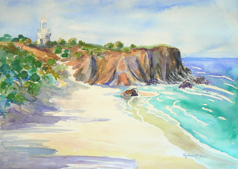 (CreativeWork) Daydream Beach Fingal Head Lighthouse NSW  by Virginia McGowan. watercolour. Shop online at Bluethumb.