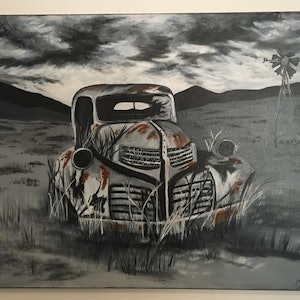 (CreativeWork) Golden Oldie - 1939 Dodge by Amanda Jane Williams. oil-painting. Shop online at Bluethumb.
