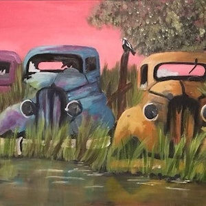 (CreativeWork) Old Timers by Amanda Jane Williams. oil-painting. Shop online at Bluethumb.
