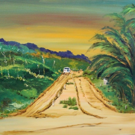 (CreativeWork) FRASER ISLAND - TRACK TO THE BEACH AT EURONG by Ralph Coles. Oil Paint. Shop online at Bluethumb.