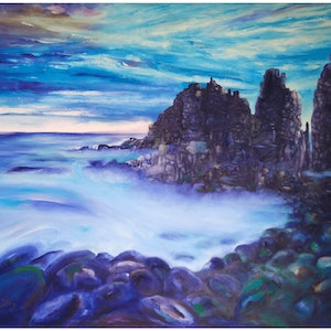 (CreativeWork) The Pinnacles Phillip Island (Cape Woolamai) by Judith Devey. oil-painting. Shop online at Bluethumb.