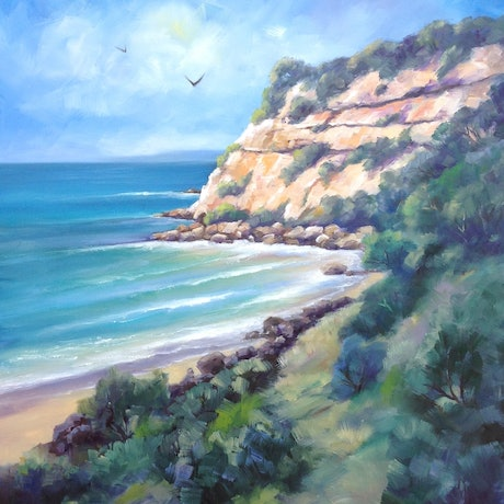 (CreativeWork) Barwon Heads Bluff - North by Moyra Le Blanc Smith. Oil Paint. Shop online at Bluethumb.