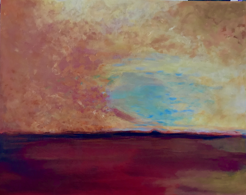 (CreativeWork) SANGUINE SKIES by LOUISE GROVE WIECHERS. arcylic-painting. Shop online at Bluethumb.