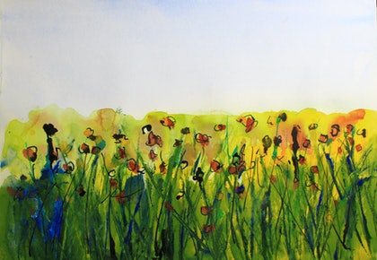 (CreativeWork) Abstract Poppies by Robert Vallance. watercolour. Shop online at Bluethumb.