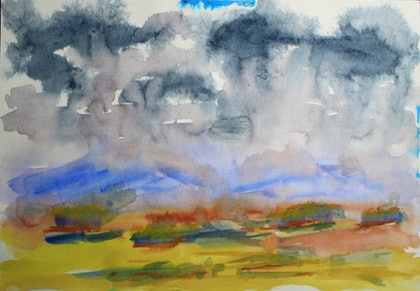 (CreativeWork) Cawnopore Ranges by Robert Vallance. watercolour. Shop online at Bluethumb.