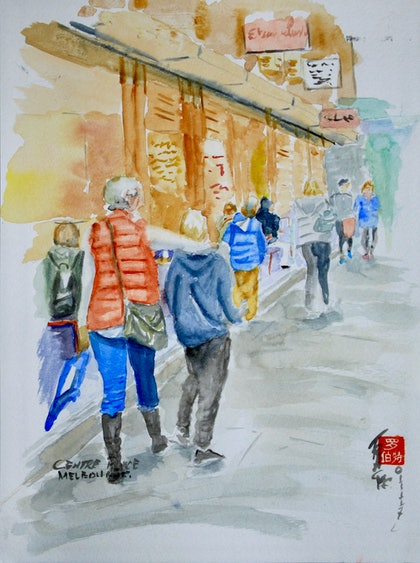 (CreativeWork) Centre Place,. Melbourne by Robert Vallance. watercolour. Shop online at Bluethumb.