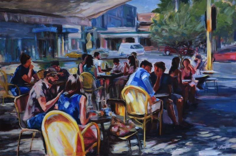 (CreativeWork) MELBOURNE CAFE INTERACTION by Lynne Parfitt. arcylic-painting. Shop online at Bluethumb.