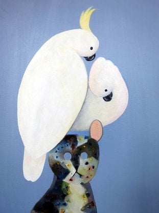 (CreativeWork) Two Cockatoo on Cat by John Graham. Oil Paint. Shop online at Bluethumb.