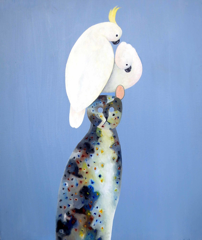 (CreativeWork) Two Cockatoo on Cat by John Graham. oil-painting. Shop online at Bluethumb.