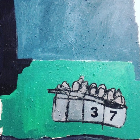 (CreativeWork) They came by boat/Remember Tampa by Sharon Monagle. Acrylic Paint. Shop online at Bluethumb.