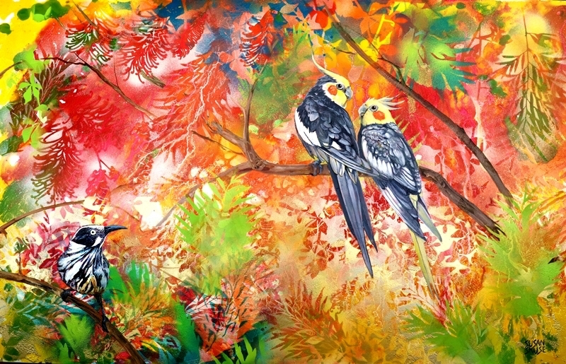 (CreativeWork) Garden Party #3 - Cockatiels and New Holland honeyeater by Susan Skuse. mixed-media. Shop online at Bluethumb.