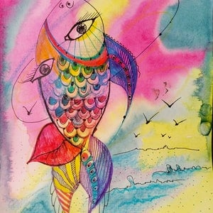 (CreativeWork) Faces of the sea by Marina Lomakina. watercolour. Shop online at Bluethumb.