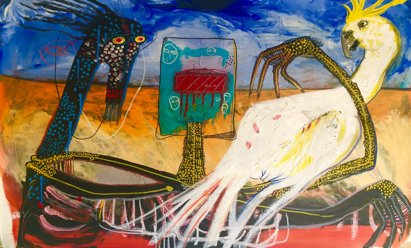 (CreativeWork) kelly cockatoo tracker outback scene by Stephen Homewood. mixed-media. Shop online at Bluethumb.
