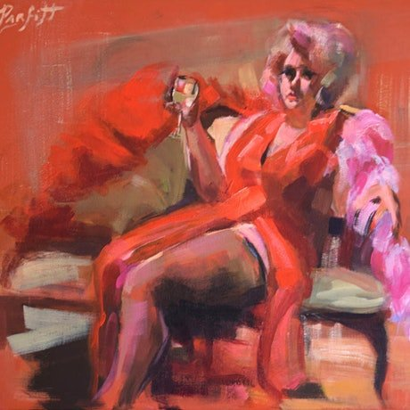 (CreativeWork) WOMAN IN RED DRESS by Lynne Parfitt. Acrylic Paint. Shop online at Bluethumb.