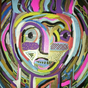 (CreativeWork) Icon face, purple by Dominic J White. arcylic-painting. Shop online at Bluethumb.