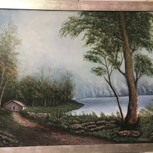 (CreativeWork) Serenity Lake by Carlo Valentini. oil-painting. Shop online at Bluethumb.