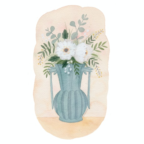 (CreativeWork) Blue vase by Daniella Germain. Watercolour Paint. Shop online at Bluethumb.