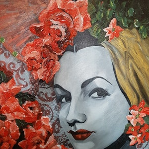(CreativeWork) St Carmen des Roses by Debra Joyce. mixed-media. Shop online at Bluethumb.