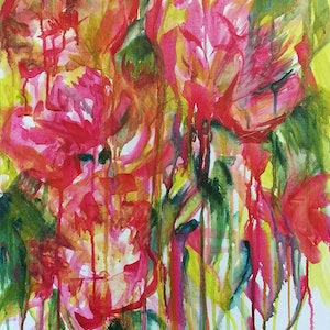 (CreativeWork) PEONIES by Myffie Coady. arcylic-painting. Shop online at Bluethumb.