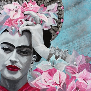 (CreativeWork) St Frida du Bougainvillier by Debra Joyce. mixed-media. Shop online at Bluethumb.