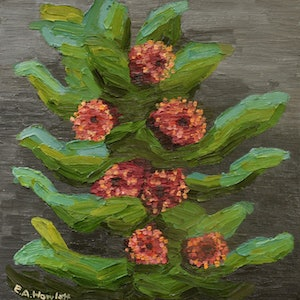 (CreativeWork) Macrocarpa  by Elisabeth Howlett. oil-painting. Shop online at Bluethumb.