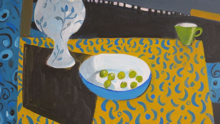(CreativeWork) Poppies with Grapes by Susan Trudinger. Acrylic Paint. Shop online at Bluethumb.