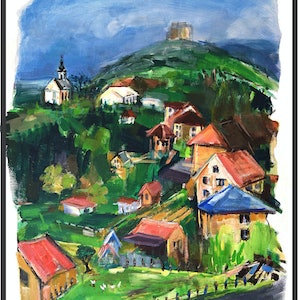 (CreativeWork) VILLAGE IN SERBIA by Lynne Parfitt. acrylic-painting. Shop online at Bluethumb.