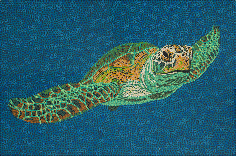 (CreativeWork) Northwest Turtle by Karl Holland. arcylic-painting. Shop online at Bluethumb.