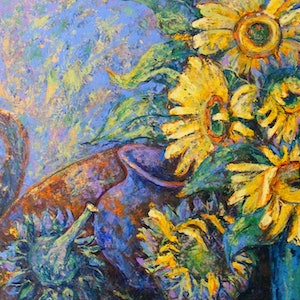 "(CreativeWork) ""The Difference Sunflowers can Make"" by Daniela Selir. arcylic-painting. Shop online at Bluethumb."