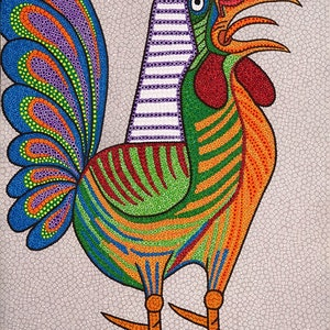 (CreativeWork) Dotted Rooster  by Karl Holland. arcylic-painting. Shop online at Bluethumb.