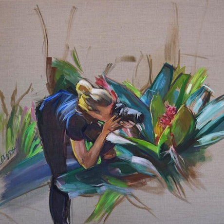 (CreativeWork) WOMAN WITH CAMERA by Lynne Parfitt. Acrylic Paint. Shop online at Bluethumb.