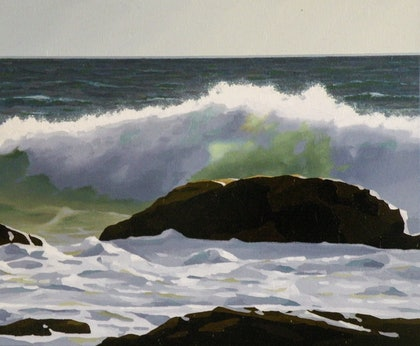 (CreativeWork) Green Wave by Colin Madgwick. oil-painting. Shop online at Bluethumb.