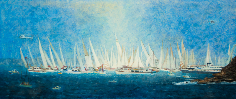 (CreativeWork) Sydney to Hobart 1980s by Rodney Black. arcylic-painting. Shop online at Bluethumb.