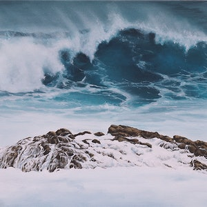 (CreativeWork) On the Rocks by Fiona Buchanan. oil-painting. Shop online at Bluethumb.