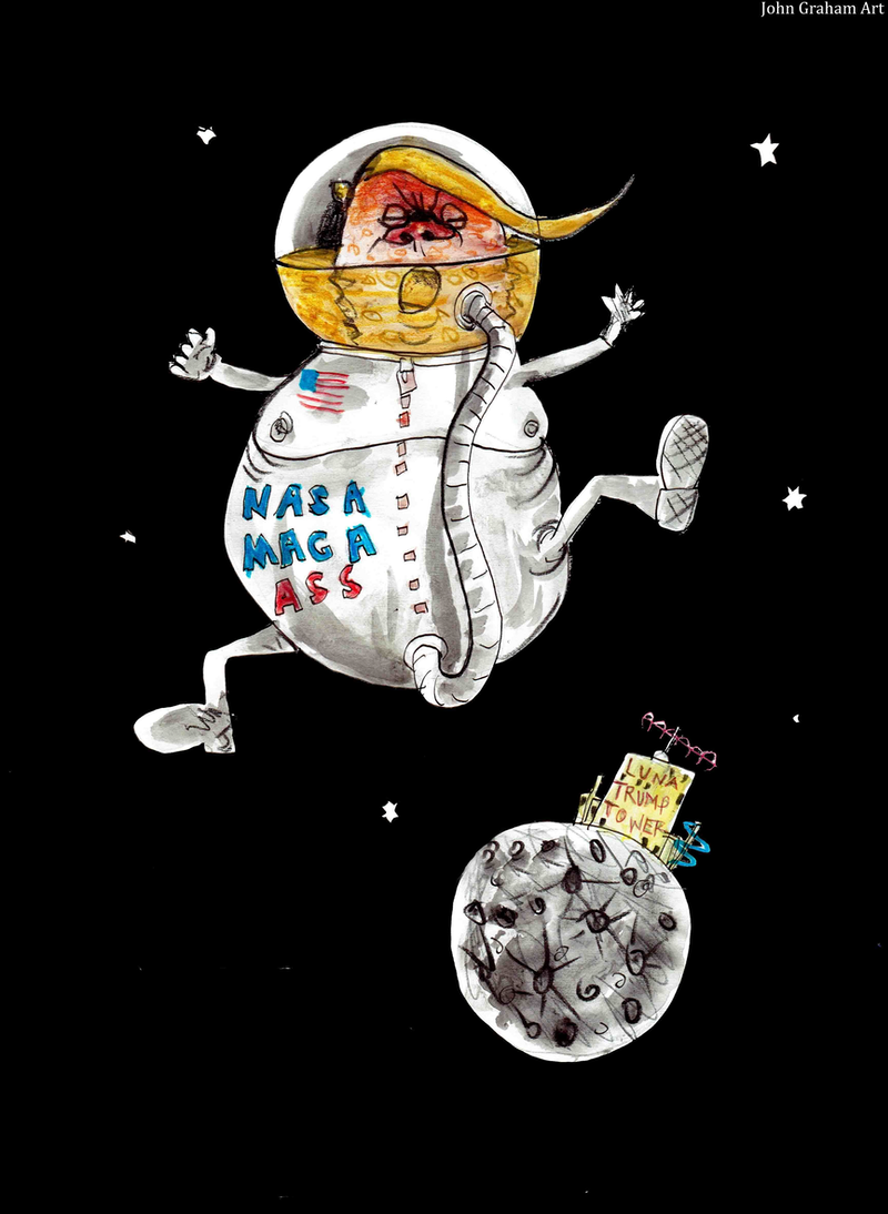 (CreativeWork) Trumptoons - Trump spaced out  Ed. 1 of 50 by John Graham. print. Shop online at Bluethumb.