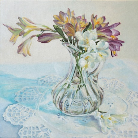 (CreativeWork) Freesias and glass jug by Fiona Buchanan. Oil Paint. Shop online at Bluethumb.