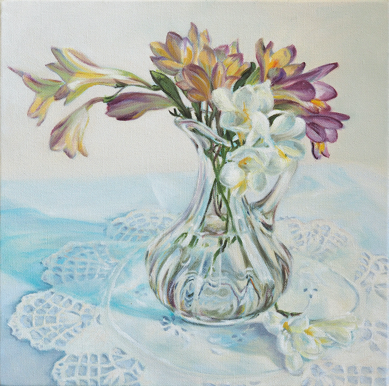 (CreativeWork) Freesias and glass jug by Fiona Buchanan. oil-painting. Shop online at Bluethumb.