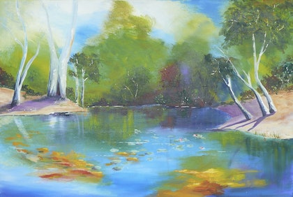 (CreativeWork) Shining Waters by Susan Chacksfield. arcylic-painting. Shop online at Bluethumb.