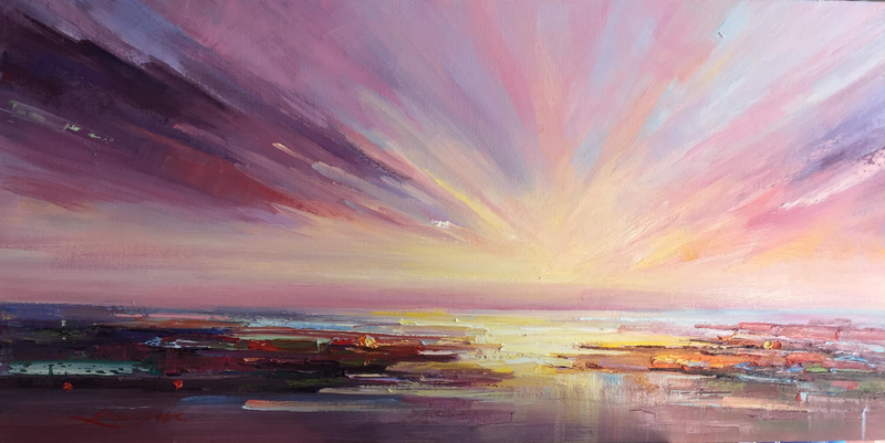 (CreativeWork) Sunrise at the beach by Liliana Gigovic. oil-painting. Shop online at Bluethumb.