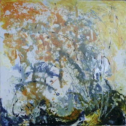(CreativeWork) Bursting into Spring by Susan Chacksfield. arcylic-painting. Shop online at Bluethumb.