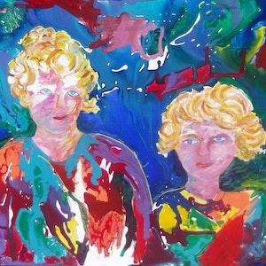 (CreativeWork) Mother and Daughter by Margaret Goldsmith. arcylic-painting. Shop online at Bluethumb.