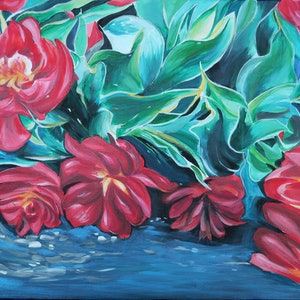 (CreativeWork) TULIP BLOOM by Lily Iris. arcylic-painting. Shop online at Bluethumb.