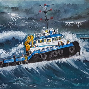 (CreativeWork) Work Boat in Stormy Seas Ed. 1 of 30 by Chelle Destefano. print. Shop online at Bluethumb.