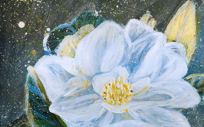 (CreativeWork) WHITE MAGNOLIA- Framed Ready to hang by HSIN LIN. Acrylic Paint. Shop online at Bluethumb.
